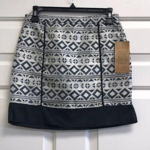 Paper Crane Aztec Print Metallic Skirt